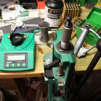 work bench with reloading tools